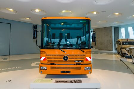 refuse: STUTTGART, GERMANY- MARCH 19, 2016: The refuse collection truck Mercedes-Benz Econic 2628 NGT, 2005. Mercedes-Benz Museum. Editorial