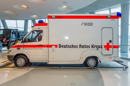 intensive care unit: STUTTGART, GERMANY- MARCH 19, 2016: Mobile intensive care unit Mercedes-Benz Sprinter 313 CDI, 2001. Mercedes-Benz Museum. Editorial