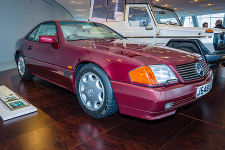acquired: STUTTGART, GERMANY- MARCH 19, 2016: Sports car Mercedes-Benz 500SL (R129). In 1991, this car was acquired Princess Diana of Wales. Mercedes-Benz Museum. Editorial