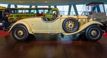 industrialist: STUTTGART, GERMANY- MARCH 19, 2016: Roadster Mercedes-Benz 24100140 PS, 1926. Owners of this car: Oscar Henschel (industrialist), Enrico Rastelli (juggler), Emil Jannings (actor). Mercedes-Benz Museum.