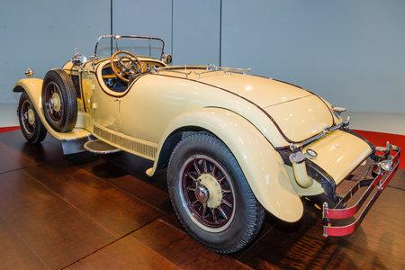 STUTTGART, GERMANY- MARCH 19, 2016: Roadster Mercedes-Benz 24100140 PS, 1926. Owners of this car: Oscar Henschel (industrialist), Enrico Rastelli (juggler), Emil Jannings (actor). Mercedes-Benz Museum.