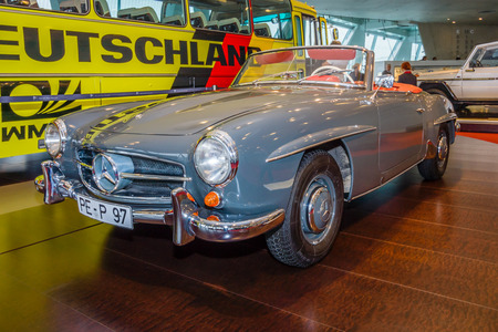 roadster: STUTTGART, GERMANY- MARCH 19, 2016: Roadster Mercedes-Benz 190 SL (W121), 1958. Mercedes-Benz Museum.