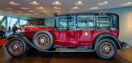 mercedes: STUTTGART, GERMANY- MARCH 19, 2016: Car of Emperor of Japan Hirohito, Mercedes-Benz 770 Grand Mercedes Pullman limousine, 1935. Mercedes-Benz Museum.