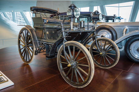 purchased: STUTTGART, GERMANY- MARCH 19, 2016: Daimler motor car, purchased by Moulay Hassan I the Sultan of Morocco in 1892. Mercedes-Benz Museum.