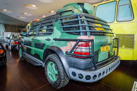 steven: STUTTGART, GERMANY- MARCH 19, 2016: Mid-size SUV Mercedes-Benz ML320, 1997. This car was used in the filming Lost World by Steven Spielberg. Mercedes-Benz Museum. Editorial
