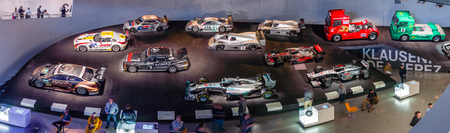 museum rally: STUTTGART, GERMANY- MARCH 19, 2016: Panoramic view of the gallery of sports and racing cars of different classes. Mercedes-Benz Museum. Editorial