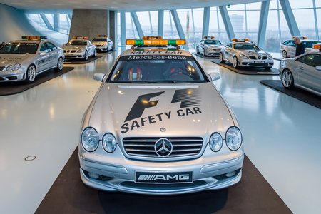 f1: STUTTGART, GERMANY- MARCH 19, 2016: Official F1 Safety car Mercedes-Benz CL55 AMG, 2000. Mercedes-Benz Museum. Editorial