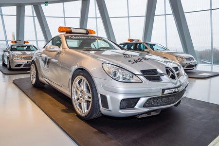 f1: STUTTGART, GERMANY- MARCH 19, 2016: Official F1 Safery car Mercedes-Benz SLK55 AMG, 2004. Mercedes-Benz Museum.