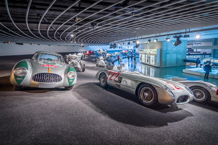 museum rally: STUTTGART, GERMANY- MARCH 19, 2016: Gallery of sports and racing cars of different classes. HDRi. Mercedes-Benz Museum.