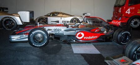 formula one racing: STUTTGART, GERMANY- MARCH 19, 2016: Formula One racing car McLaren-Mercedes MP4-23, 2008. Mercedes-Benz Museum.