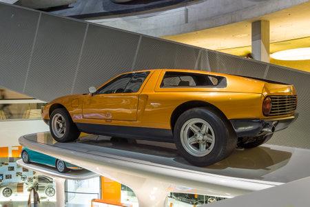 experimental: STUTTGART, GERMANY- MARCH 19, 2016: Experimental car Mercedes-Benz C111-II, 1970. Mercedes-Benz Museum.