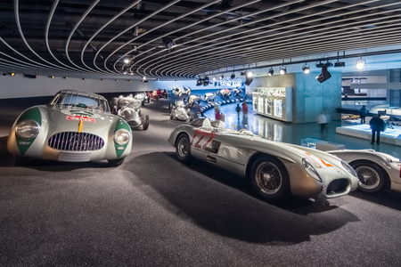 museum rally: STUTTGART, GERMANY- MARCH 19, 2016: Gallery of sports and racing cars of different classes. Mercedes-Benz Museum.