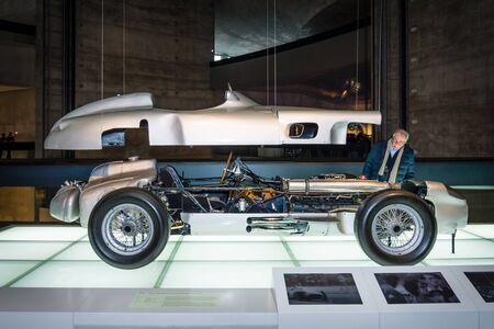 formula one racing: STUTTGART, GERMANY- MARCH 19, 2016: Formula One racing car Mercedes-Benz W196R, 2,5-litre, 1955. Mercedes-Benz Museum.
