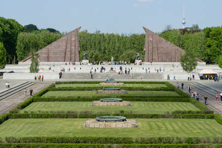 treptow: BERLIN - MAY 08, 2016: Victory in Europe Day. Soviet War Memorial and military cemetery in Berlins Treptower Park. Editorial