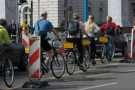 rented: BERLIN - MAY 01, 2016: Tourist tour on a rented bicycle. Editorial
