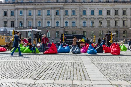 in the open air: BERLIN - MAY 01, 2016: The public library in the open air with free access to books and entrance. City program Reading lounge Editorial