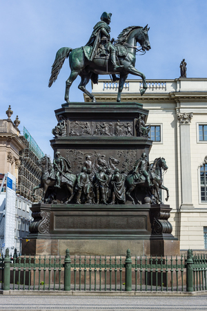 frederick street: BERLIN - MAY 01, 2016: Equestrian statue of Frederick the Great, Unter den Linden by Christian Daniel Rauch, 1851