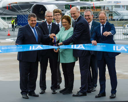 gabriel: BERLIN, GERMANY - JUNI 01, 2016: Minister for Economic Affairs and Energy Sigmar Gabriel and accompanying persons opened Exhibition ILA Berlin Air Show.