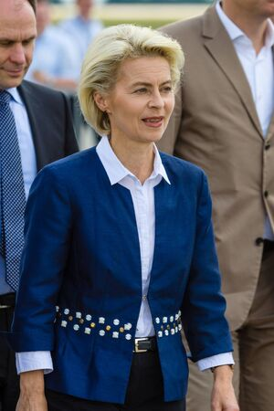 der: BERLIN, GERMANY - JUNI 02, 2016: Arrival of the Federal Minister of Defence of Germany, Ursula von der Leyen at the exhibition ILA Berlin Air Show 2016