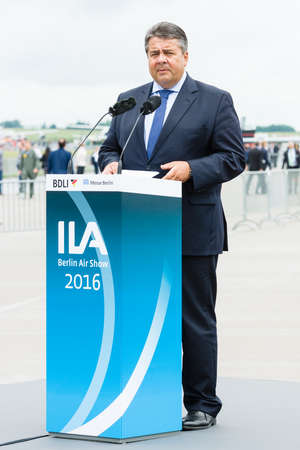 gabriel: BERLIN, GERMANY - JUNI 01, 2016: Speech by Sigmar Gabriel, Minister for Economic Affairs and Energy. Exhibition ILA Berlin Air Show 2016 Editorial