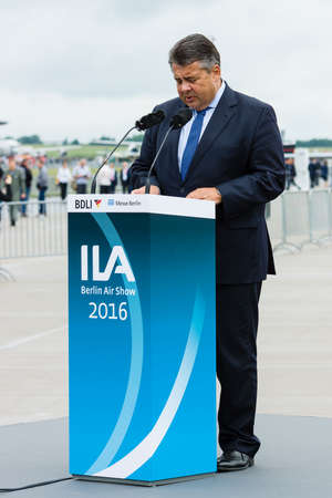 avia: BERLIN, GERMANY - JUNI 01, 2016: Speech by Sigmar Gabriel, Minister for Economic Affairs and Energy. Exhibition ILA Berlin Air Show 2016 Editorial