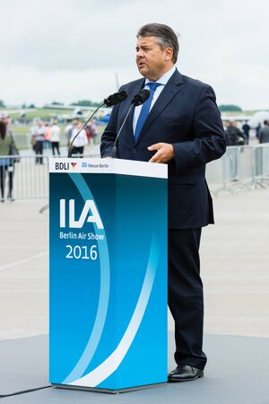 affairs: BERLIN, GERMANY - JUNI 01, 2016: Speech by Sigmar Gabriel, Minister for Economic Affairs and Energy. Exhibition ILA Berlin Air Show 2016 Editorial