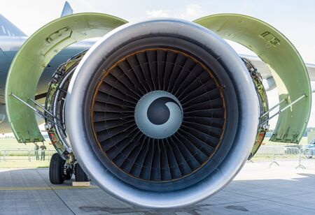 turbofan: BERLIN, GERMANY - JUNE 03, 2016: Turbofan engine General Electric CF6-80C2 of medical aircraft Airbus A310-304 MRTT MedEvac August Euler (Luftwaffe). Close-up. Exhibition ILA Berlin Air Show 2016