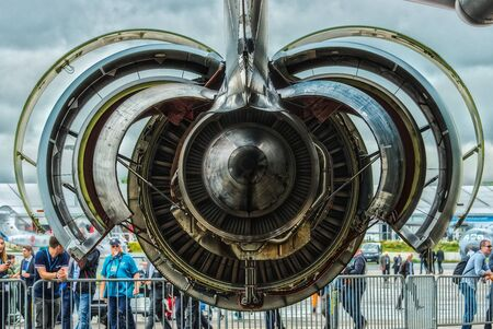 turbofan: BERLIN, GERMANY - JUNE 03, 2016: Turbofan engine General Electric CF6-80C2 of medical aircraft Airbus A310-304 MRTT MedEvac August Euler (Luftwaffe). Close-up. HDRi, Tone Mapping. Exhibition ILA Berlin Air Show 2016