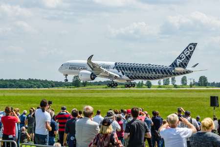 air demonstration: BERLIN, GERMANY - JUNE 03, 2016: Demonstration flight Airbus A350 XWB. Exhibition ILA Berlin Air Show 2016