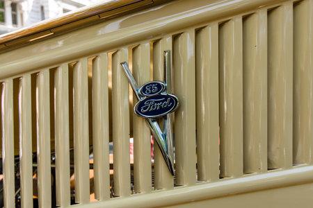 v8: BERLIN - JUNE 05, 2016: The logo of vintage pickup Ford V8 Model 85. Classic Days Berlin 2016.