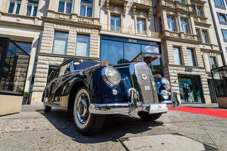 BERLIN - JUNE 05, 2016: Full-size luxury car Mercedes-Benz 300D cabriolet (W186). Classic Days Berlin 2016.