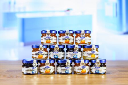 BRANDED: BERLIN - JUNE 17, 2016: Small jars of different jam of Hero. The Hero Group is an international consumer food company focused on branded nutritional food products. Editorial