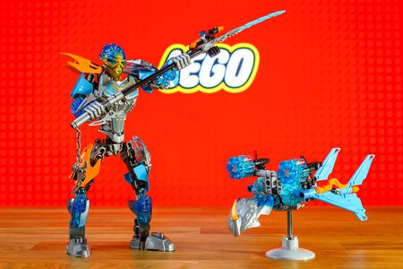 BERLIN - JUNE 17, 2016: The characters (toys) universe of Lego Bionicle - Gali, Uniter of Water and Akida, Creature of Water. BIONICLE is a line of construction toys created by the Lego Group. Editorial