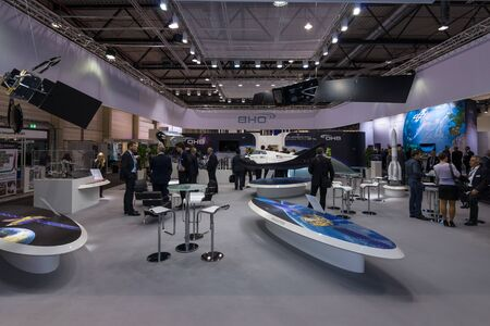 astronautics: BERLIN, GERMANY - JUNE 01, 2016: The stand of OHB. OHB SE is a European company that develops and manufactures space systems. Exhibition ILA Berlin Air Show 2016