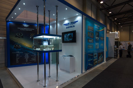 aerea: BERLIN, GERMANY - JUNE 01, 2016: The stand of AEREA S.p.A. AEREA S.p.A. is one of the oldest Italian privately owned companies operating in the aerospace field. Exhibition ILA Berlin Air Show 2016