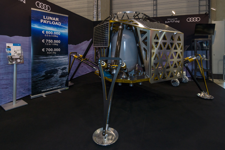 payload: BERLIN, GERMANY - JUNE 01, 2016: The stand of PT Scientists. The model of the lunar module for scientific research. Exhibition ILA Berlin Air Show 2016.