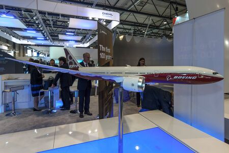 boeing: BERLIN, GERMANY - JUNE 01, 2016: The stand of the Boeing Company. Model of airliner Boeing 787-8 Dreamliner. Exhibition ILA Berlin Air Show 2016.