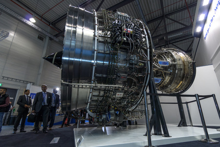 turbofan: BERLIN, GERMANY - JUNE 01, 2016: Turbofan jet engines Rolls-Royce Trent XWB. Exhibition ILA Berlin Air Show 2016.