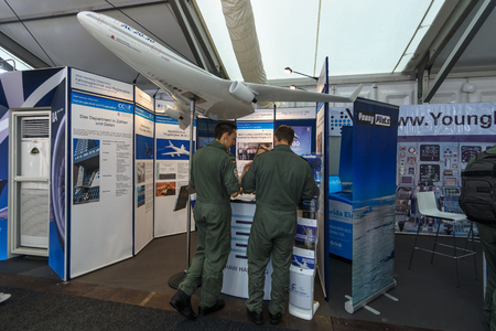 aeronautical: BERLIN, GERMANY - JUNE 01, 2016: The stand of Hamburg University of Applied Science. Department of Automotive and Aeronautical. Exhibition ILA Berlin Air Show 2016. Editorial