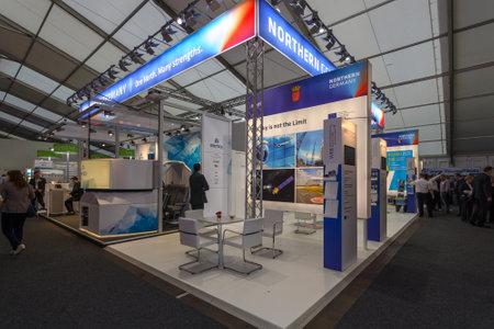ist: BERLIN, GERMANY - JUNE 01, 2016: The stand of Bremeninvest. Bremeninvest ist the international brand of WFB Wirtschaftsfoerderung Bremen GmbH. Exhibition ILA Berlin Air Show 2016.