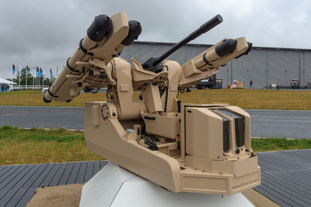 missiles: BERLIN, GERMANY - JUNE 01, 2016: The new concept of automatic short-range air defense system Rheinmetall using MBDA Mistral guided missiles. Exhibition ILA Berlin Air Show 2016.