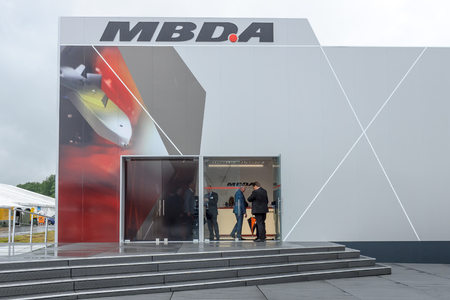 armaments: BERLIN, GERMANY - JUNE 01, 2016: Pavilion of the European developer and manufacturer of missile systems - MBDA. Exhibition ILA Berlin Air Show 2016.