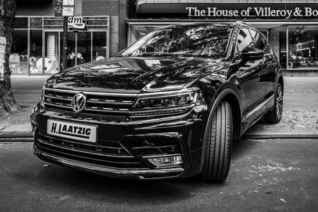 sport utility vehicle: BERLIN - JUNE 05, 2016: Compact crossover SUV Volkswagen Tiguan, 2016. Black and white. Classic Days Berlin 2016.