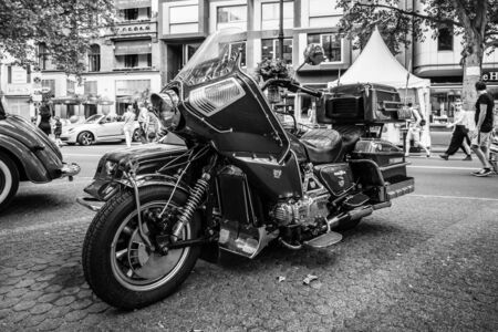 sidecar: BERLIN - JUNE 05, 2016: Motorcycle with sidecar Honda Gold Wing GL1100 Full-Dresser, 1980. Black and white. Classic Days Berlin 2016.