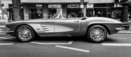 corvette: BERLIN - JUNE 05, 2016: Sports car Chevrolet Corvette (C1). Black and white. Classic Days Berlin 2016.