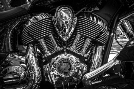 chieftain: BERLIN - JUNE 05, 2016: Engine of motorcycle Indian Chieftain. Black and white. Classic Days Berlin 2016.