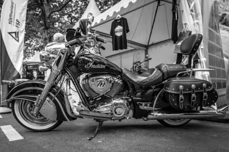 chieftain: BERLIN - JUNE 05, 2016: Motorcycle Indian Chieftain. Black and white. Classic Days Berlin 2016.