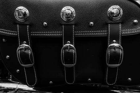 chieftain: BERLIN - JUNE 05, 2016: Trunk bag of motorcycle Indian Chieftain. Black and white. Classic Days Berlin 2016. Editorial