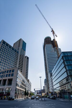 hdri: BERLIN - JUNE 05, 2016: Hotel Waldorf Astoria by Hilton (left) and the construction of a new skyscraper Upper WestAtlas Tower (right) in West Berlin. HDRi.