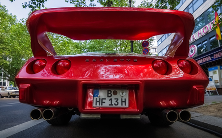 corvette: BERLIN - JUNE 05, 2016: Sports car Chevrolet Corvette Stingray Coupe (C3). Rear view. HDRi. Classic Days Berlin 2016. Editorial